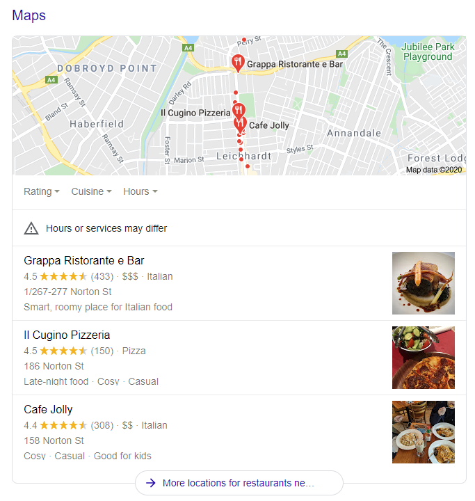 Local packs Organic Search Extensions